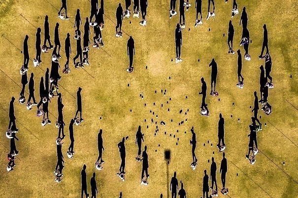 Drone Photo Directly Above Bowls Club. Looks Like A Surreal Painting