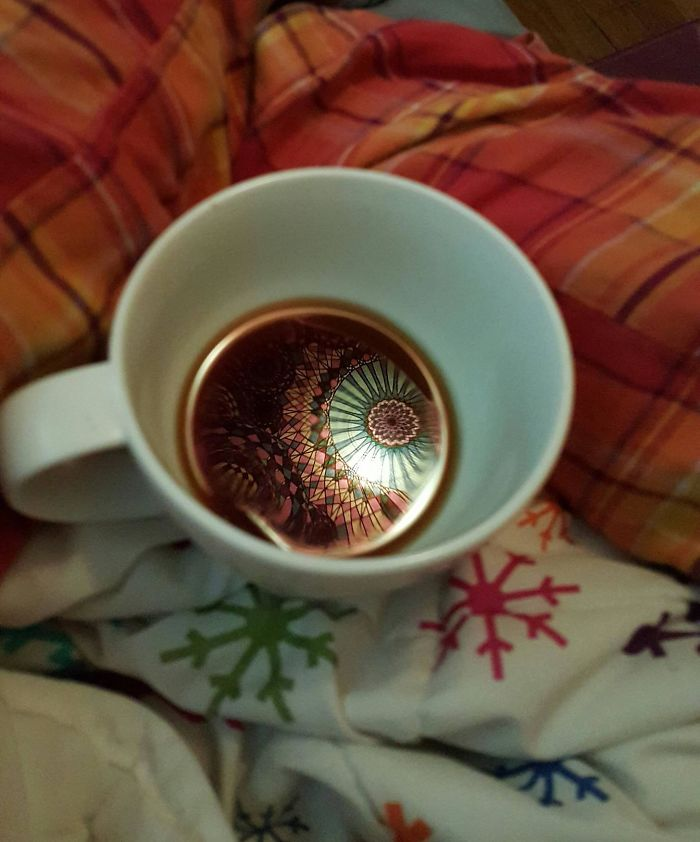 The Tapestry Above My Bed Made A Pretty Sweet Reflection In My Coffee This Morning
