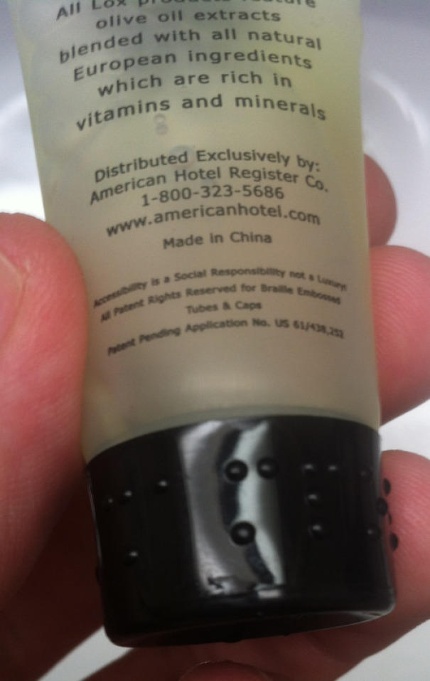 "This Hotel Shampoo Said ""Shampoo"" In Braille On The Cap"