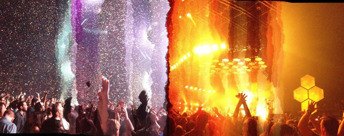 #2 I Took A Panoramic Photo At A Concert And Lights Changed In The Middle Of It. This Is The Result