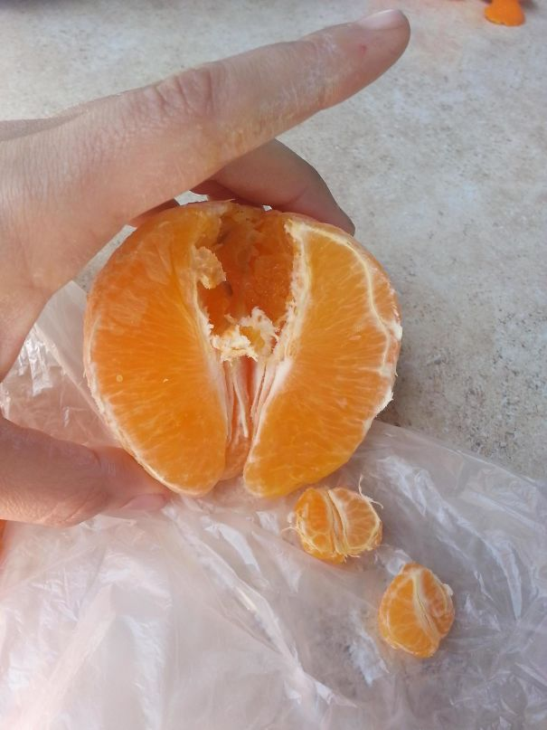 Once I Had A Mini Orange Inside My Normal Size Orange, Segmented And All