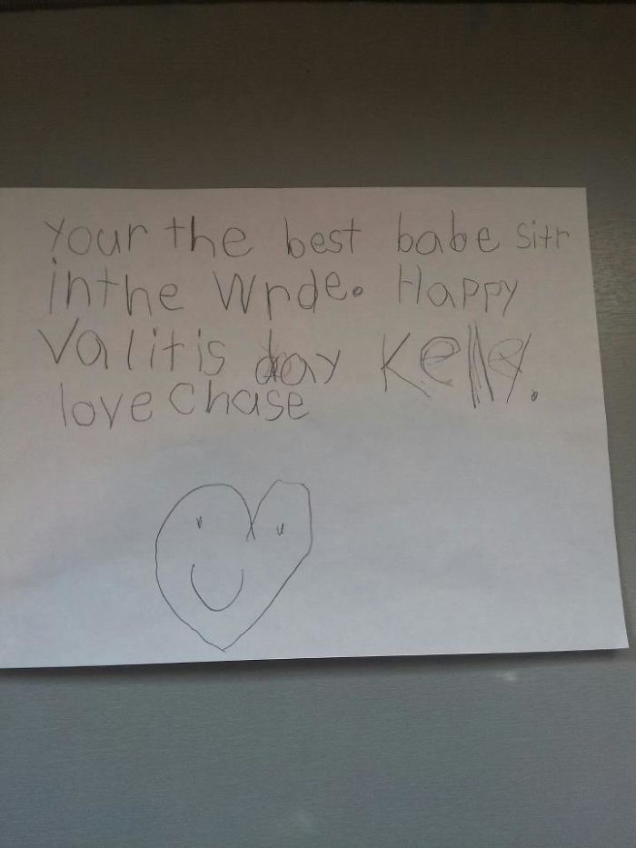 I Don't Have A Valentine This Year, Been Pretty Heartbroken. The Little Boy I Watch Made Up For It By Giving Me This