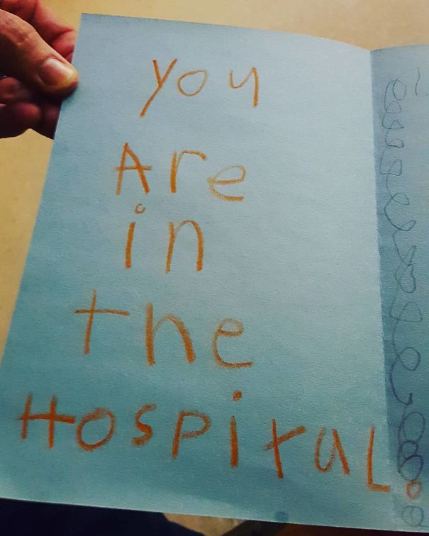 It's My Dad's Birthday Today And He's In The Hospital, My Nephew Made Him This Birthday Card