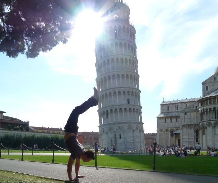 Didn't Want To Do The Standard Pose In Front Of The Leaning Tower Of Pisa.. This Was The Result