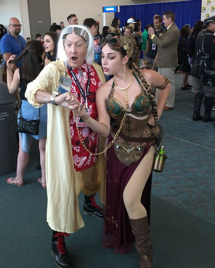 Steampunk Slave Leia And Dr. Emmett Brown