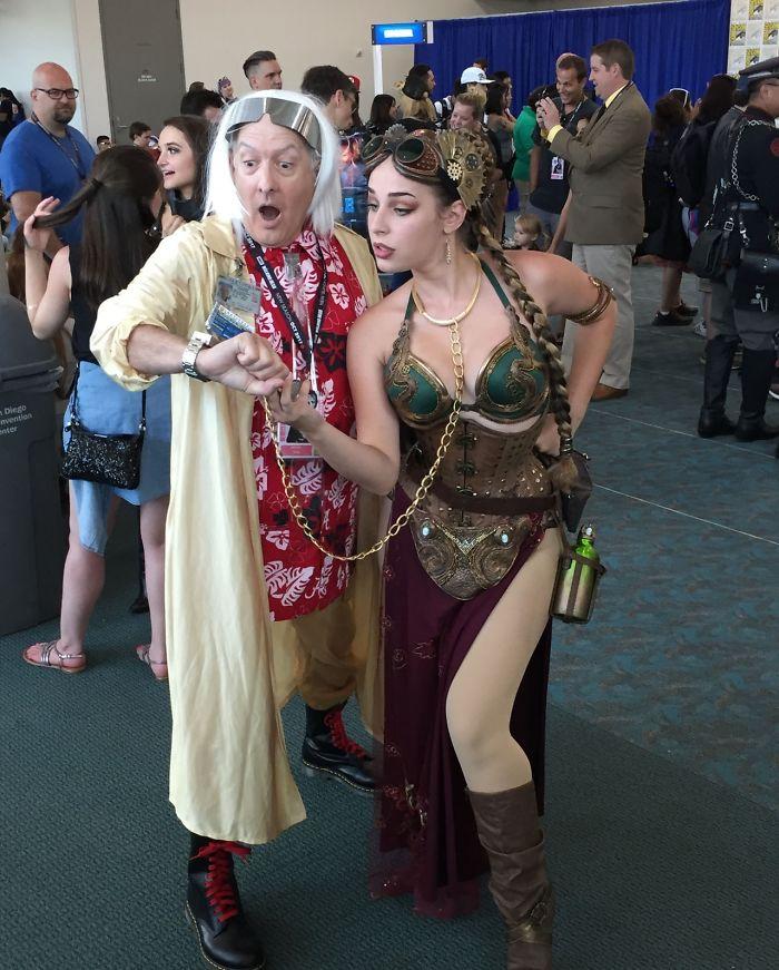 Steampunk Slave Leia And Dr. Emmett Brown