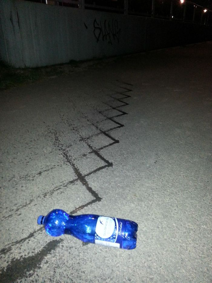 Yesterday I Droped My Waterbottle. This Is The Pattern It Made While Rolling Away