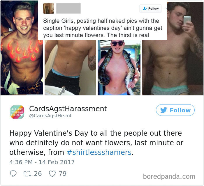 A Woman Is Mocking The Shirtless Dudes
