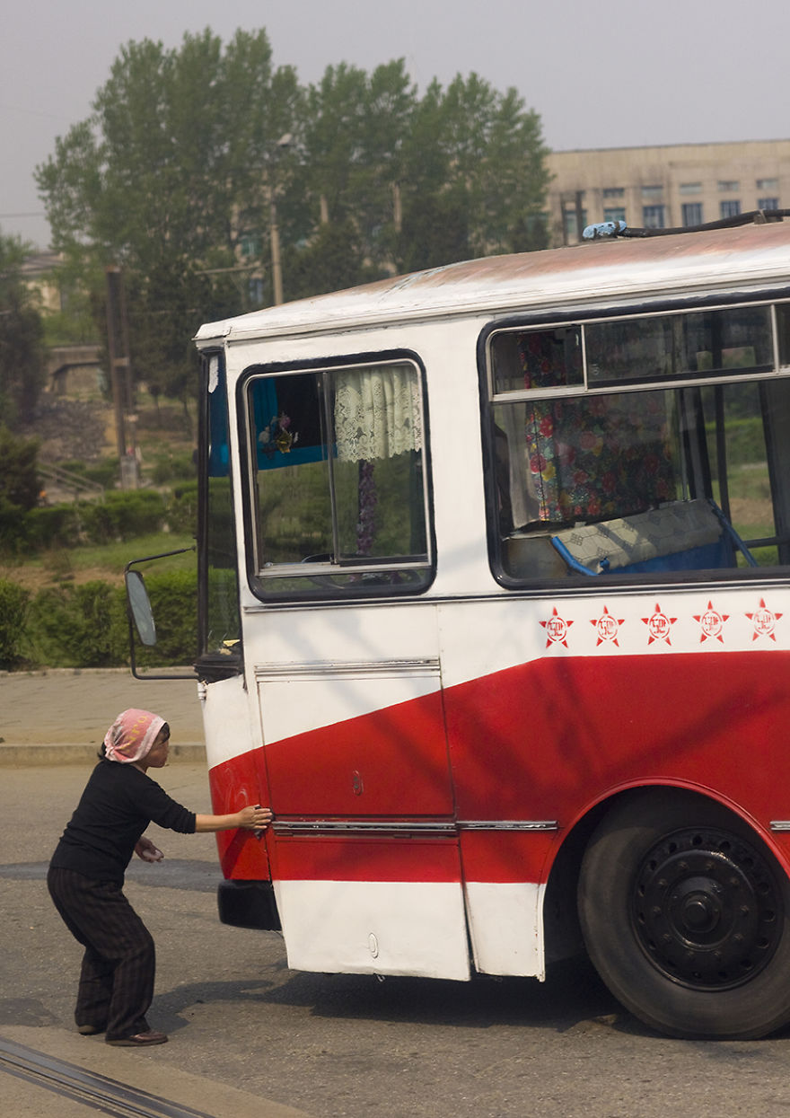 It Is Forbidden To Enter Pyongyang With A Dirty Car, So After A Long Trip On The Highway, The Cars And The Buses Must Be Cleaned Before Entering The Town