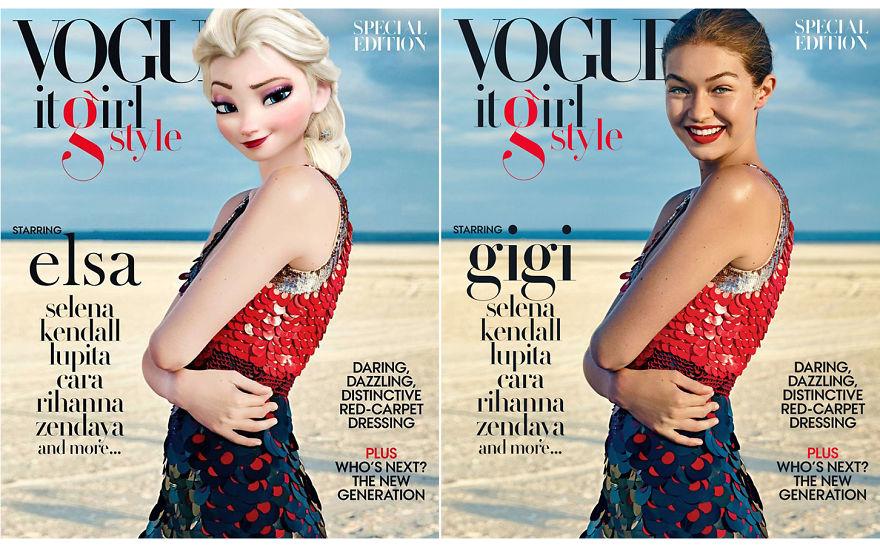Elsa As Gigi Hadid