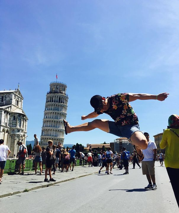 Trying To Knock Down The Leaning Tower Of Pisa