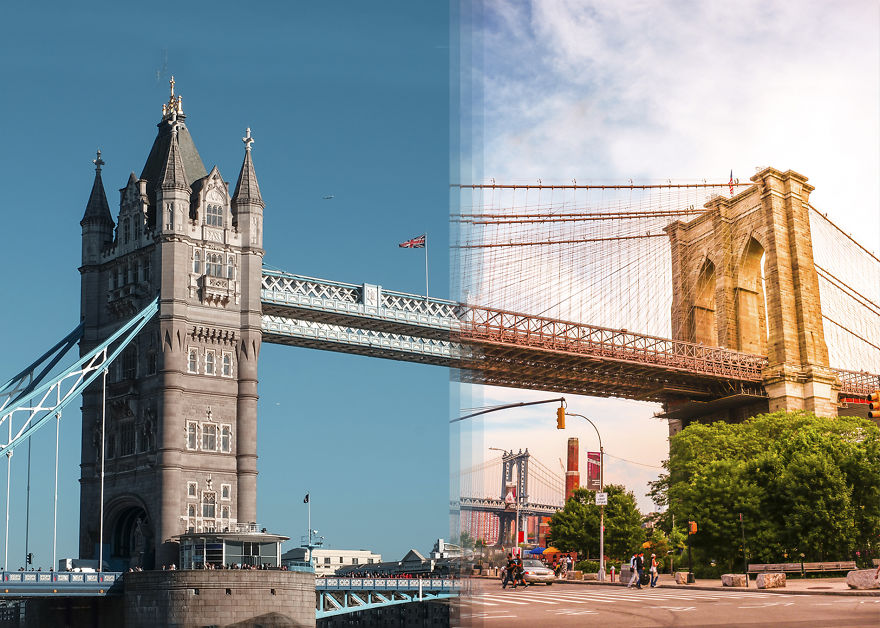 Тауэрский мост в Лондоне против Бруклинского моста в Нью-Йорке