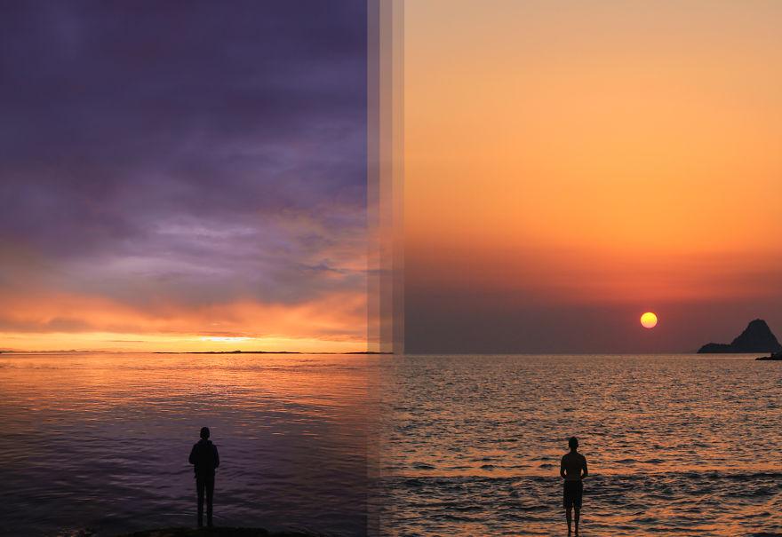 Восход солнца на острове Ванкувер в Канаде против восхода солнца на острове Порос в Греции
