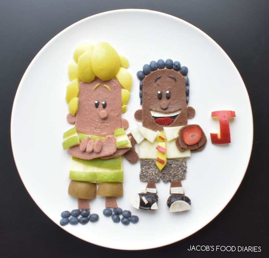 Harold Hutchins & George Beard From Captain Underpants - Spelt Beetroot And Cocoa Pancakes With Fruit