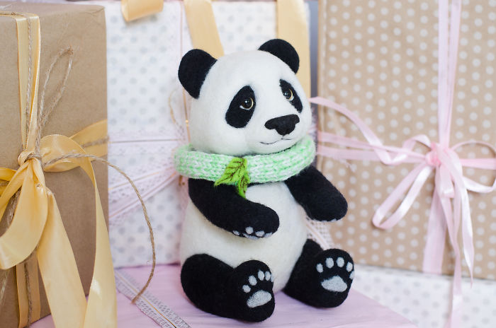 I Make Needle Felted Sculptures And This Charming Panda Is One Of Them