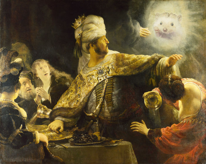 Rembrandt - Belshazzar Sees The Hedgehog On The Wall