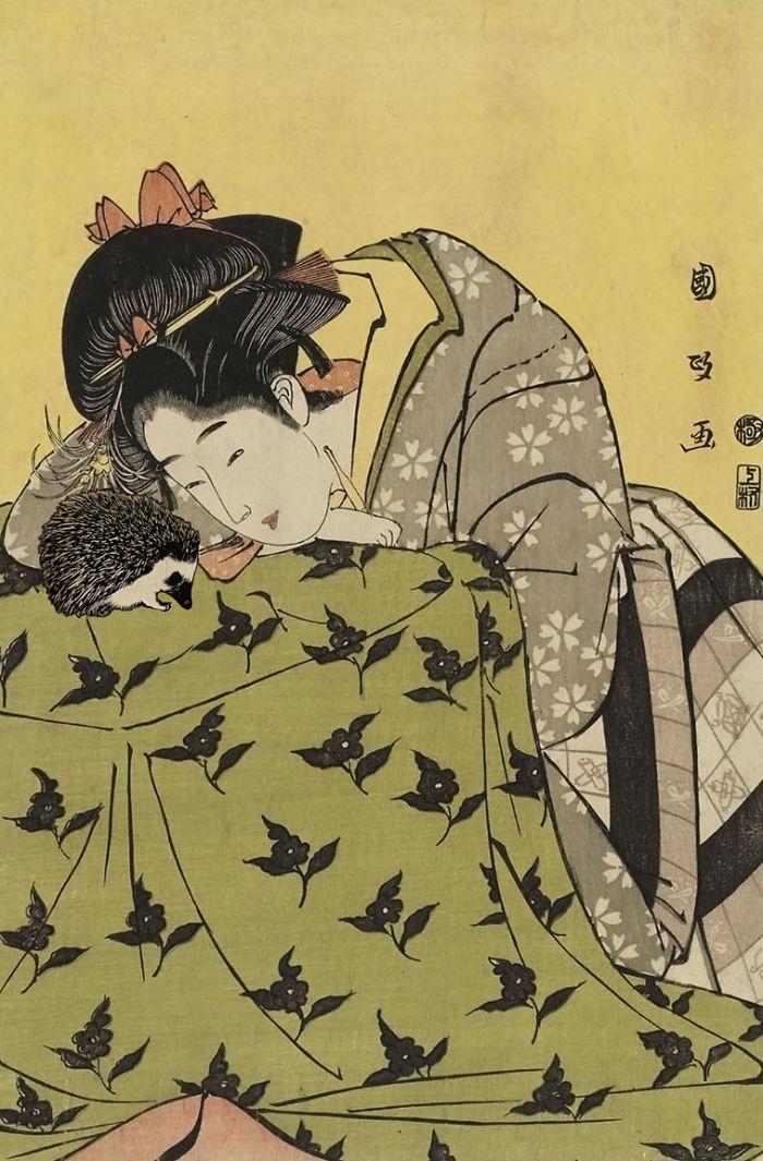 Utagawa Kunimasa's 'Woman With Hedgehog'