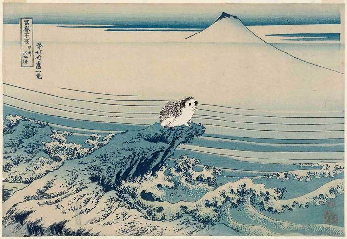 Katsushika Hokusai 'Hedgehog Views Mount Fuji' (1828)