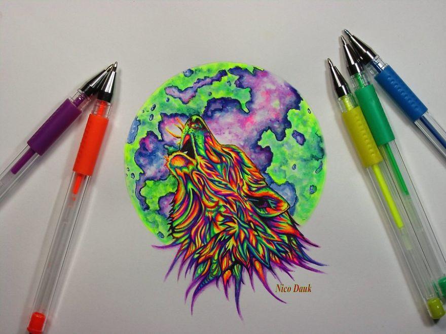I Use Gel Pens To Create Colorful Art.