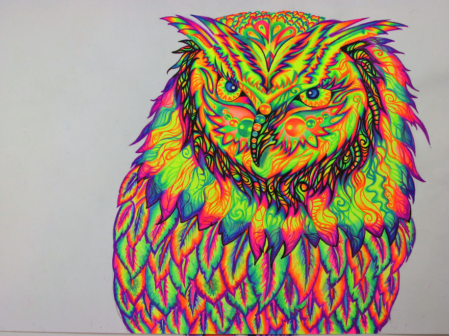 I Use Gel Pens To Create Colorful Art.