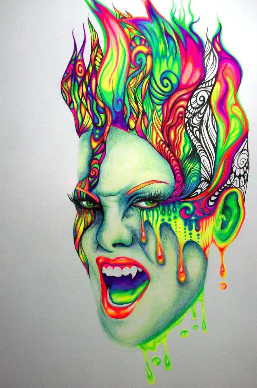 i use gel pens to create colorful art - Colorful Art