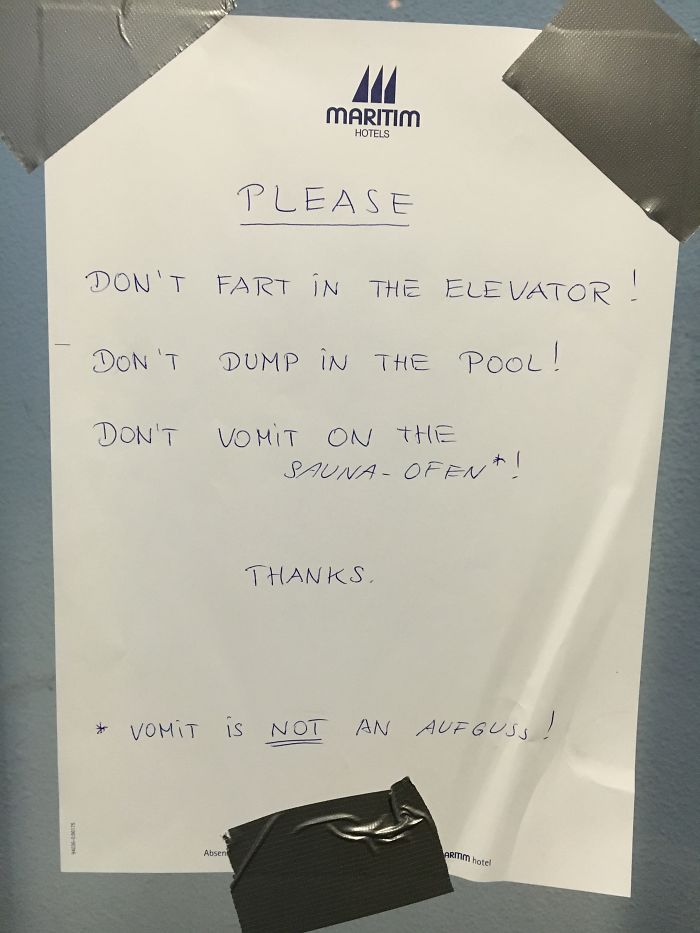 Notice In The Elevator Of This Hotel