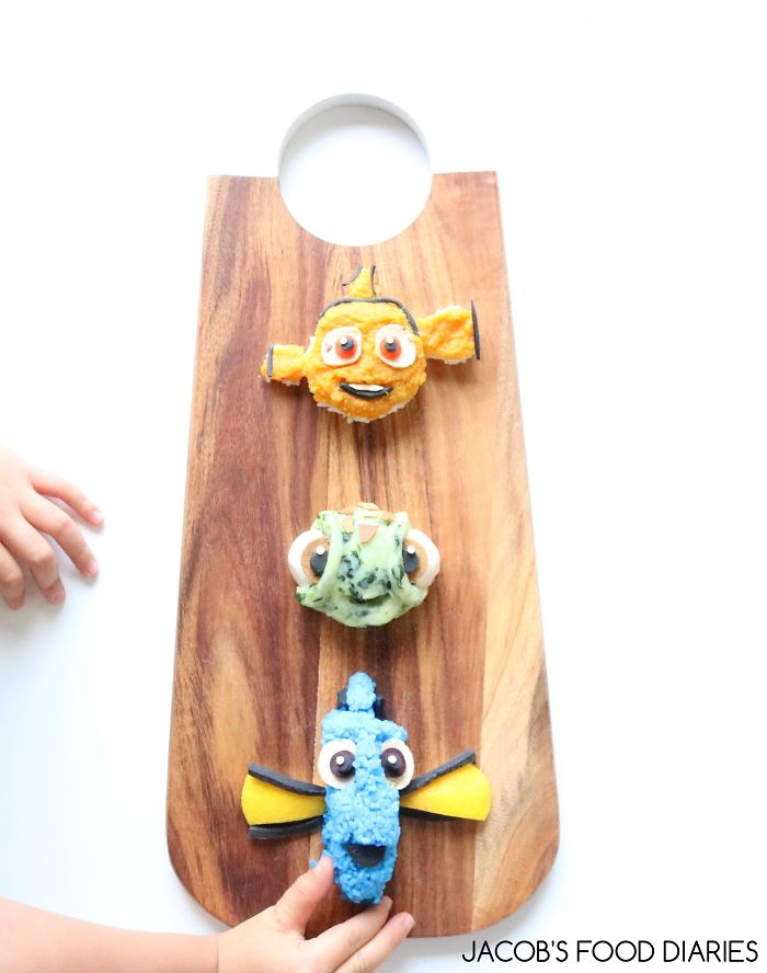 Nemo, Squirt & Dory From Finding Nemo – Lentils With Spinach Mash And Rice (dyed With Purple Cabbage)