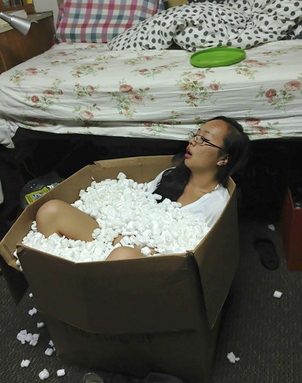 I Wake Up At 2 Am To Find My Roommate Passed Out In A Box Of Packing Peanuts