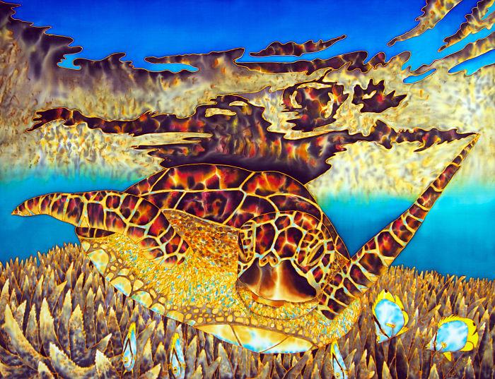 I Painted An Amazing Sea Turtle On Silk