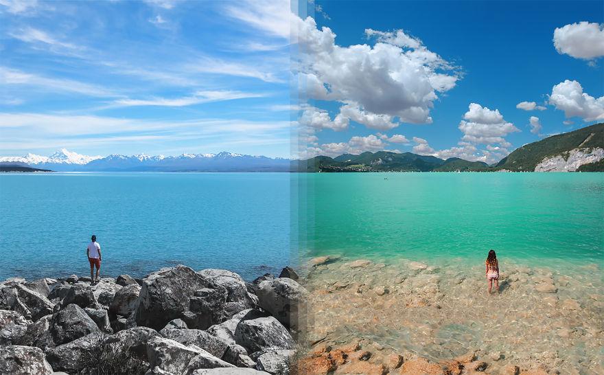 Озеро Текапо в Новой Зеландии Vs Lake Wolfgang В Австрии