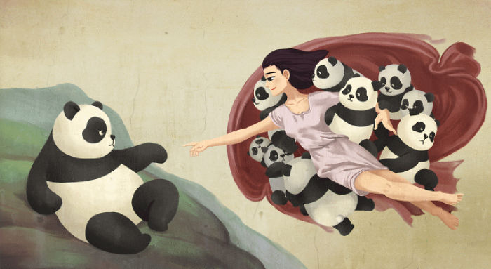 21 Famous Paintings That Look Better With Pandas