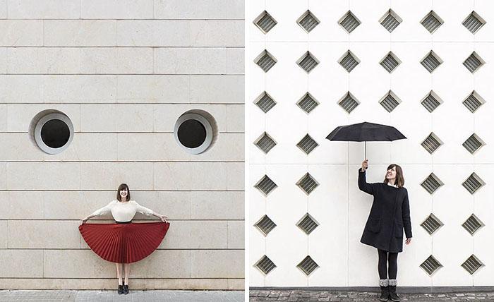 Este adorable dúo viaja por el mundo jugando con la arquitectura, sus fotos te encantarán