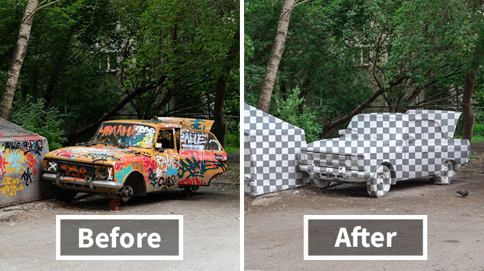 Russian Street Artists Delete Car In Real World Using Clever Optical Illusion
