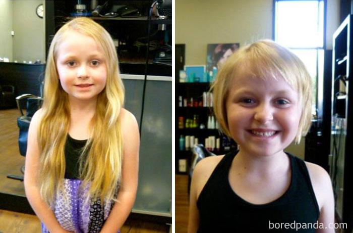 Mi hija de 6 años ha donado 33 cms de su cabello