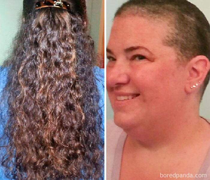 I Shaved Off My Waist-Length Hair For A Cancer Fundraiser Called Bald For Bucks In June '14 In Honor Of My Husband Who Has Fought Twice. I Donated The Hair To Wigs For Kids