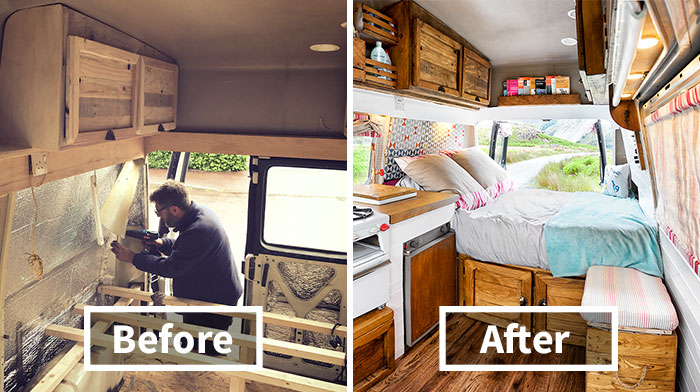 How We Transformed This Camper Van In 6 Weeks With Only £1000