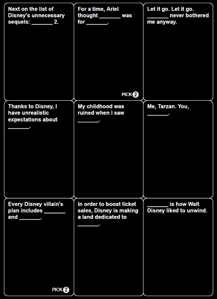 disney cards against humanity may be coming out soon and here s how 18 first cards look bored. Black Bedroom Furniture Sets. Home Design Ideas