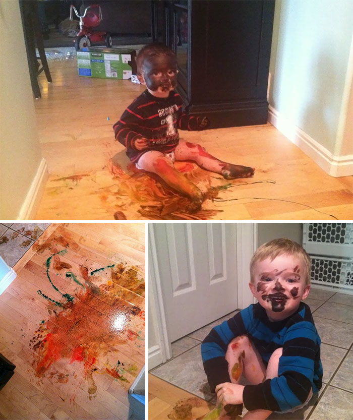Made Coloured Crepes With My Kids This Weekend, And Returned To Work On Monday. Got A Text From My Husband With These Pictures And The Statement, 'You Didn't Put The Food Colouring Back After The Crepes'