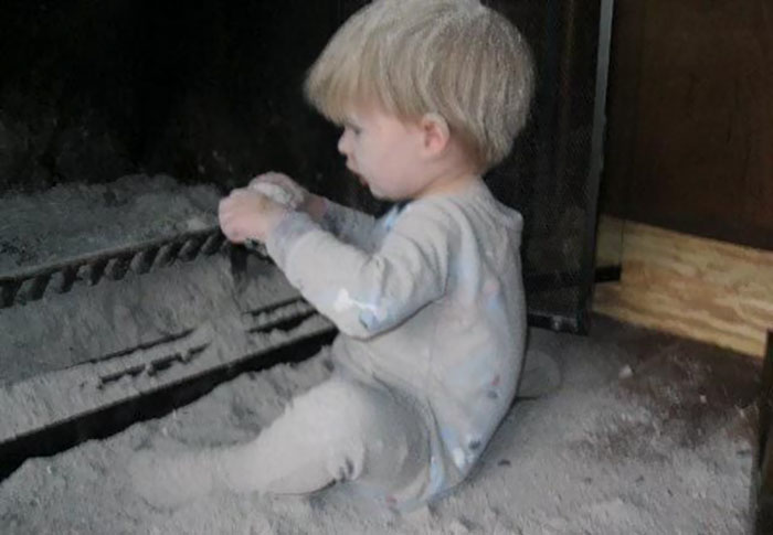 Our 2-Year-Old Thought The Fireplace Was A Perfectly Acceptable Sandbox