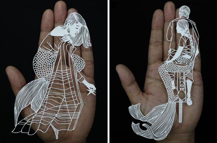 I Portray Indian Women Through My Intricate Mermaid Papercuts