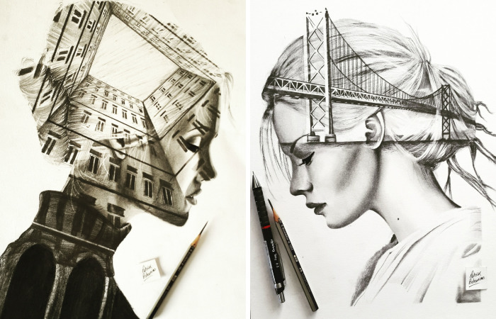 I Merge Buildings And People In My Double Exposure Drawings