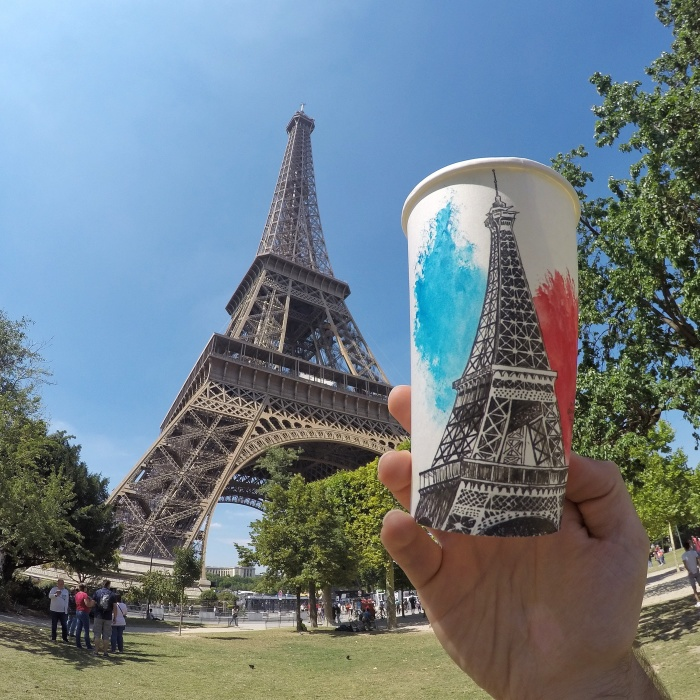 Artist Travels The World And Uses Paper Coffee Cups As His Canvas To Reflect What He Sees