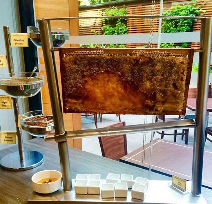 Este hotel tiene miel fresca en el bufet del desayuno