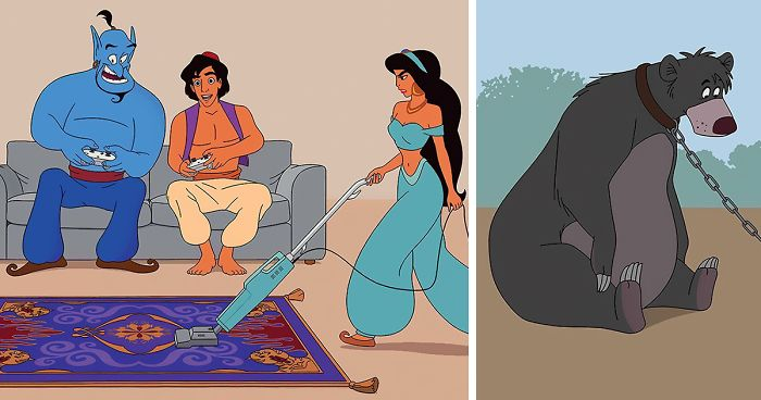 illustrator accurately reimagines what disney movies would look like