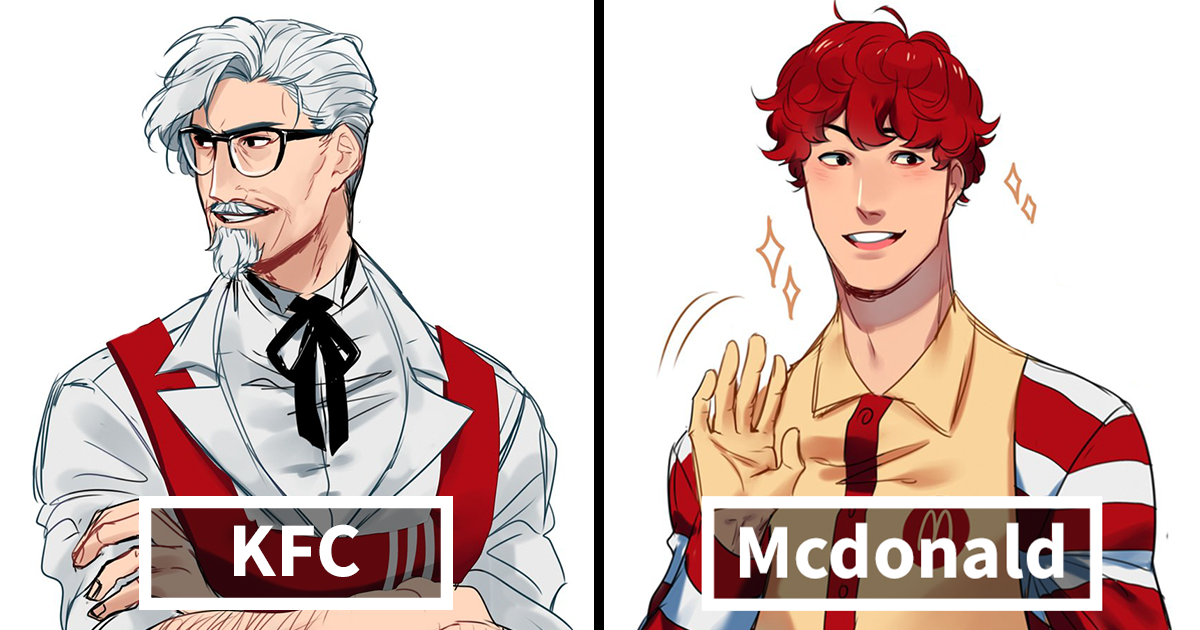 Illustrator Reimagines Fast Food Mascots As Anime Characters