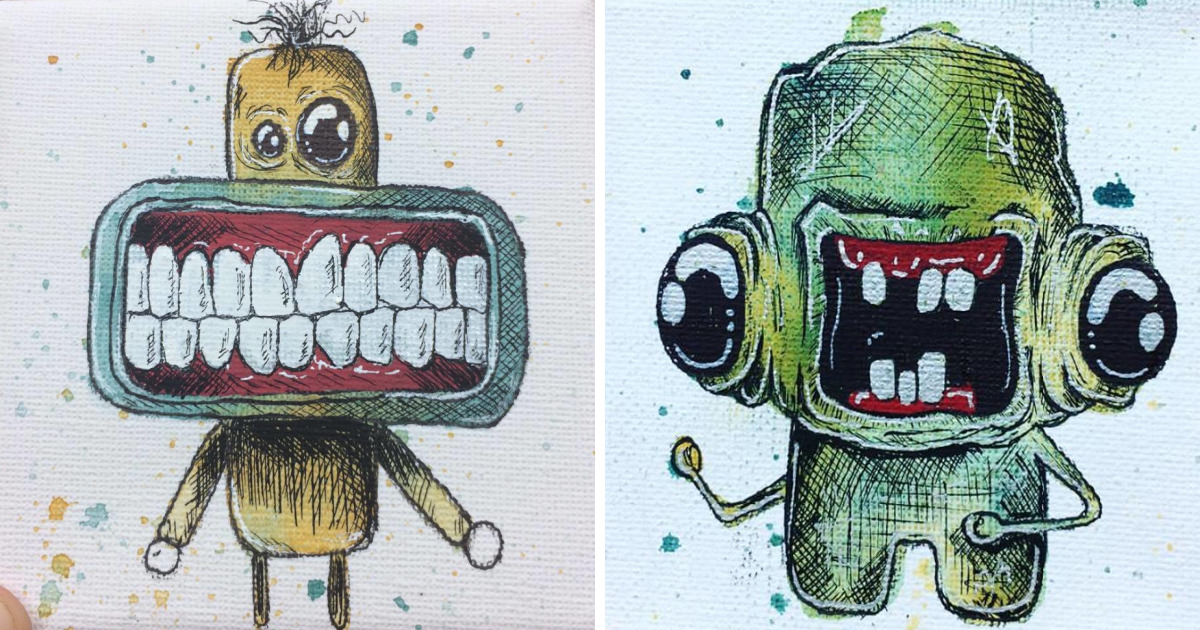 I Create Quirky Monsters From Random Paint Splashes Daily