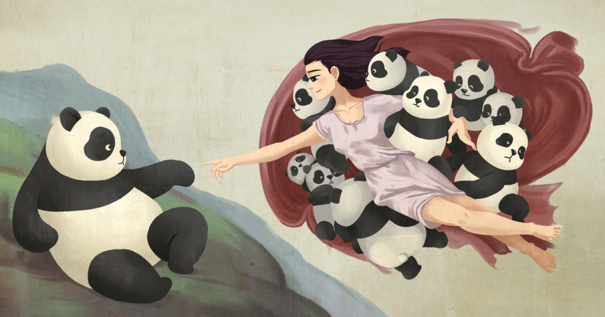 10 famous paintings that look better with pandas bored panda