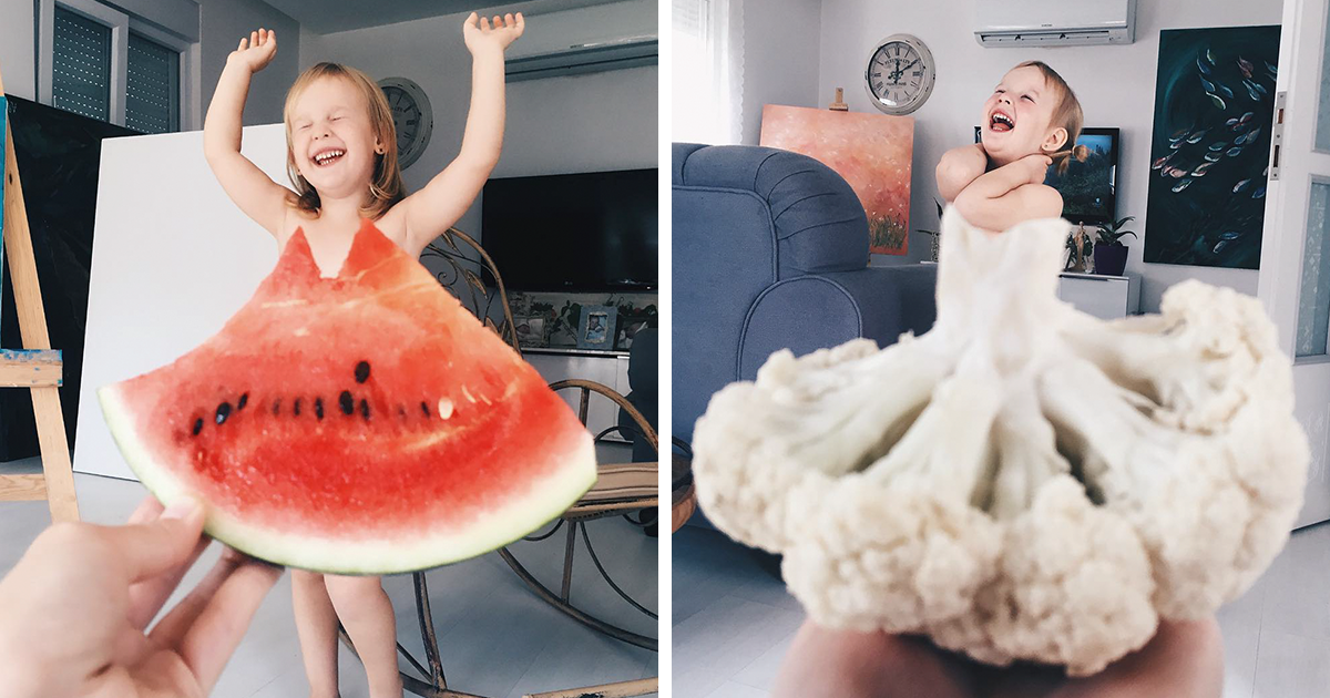 Mom dresses her daughter in food and flowers using forced perspective becomes internet star - Cuisine perspective ...