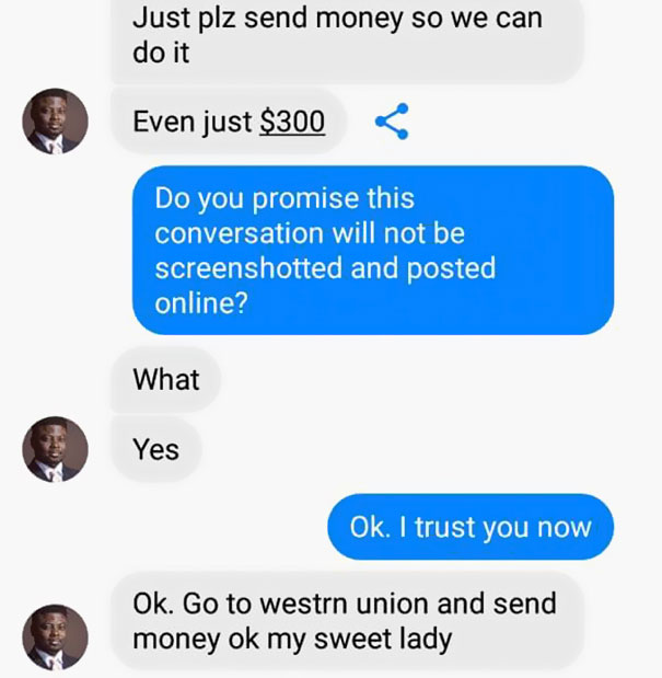 online scammers asking for money