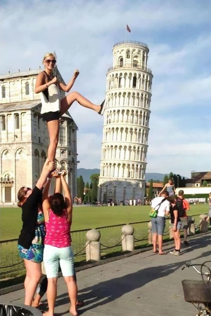 Lightly Less Generic Tourist Leaning Tower Of Pisa Forced Perspective Photo